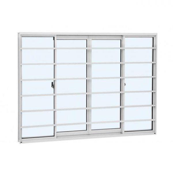 Janela de Correr Grade Horizontal Alumínio - 4 Folhas - Branco Linha Alumislim Sasazaki (78.10.602-6)