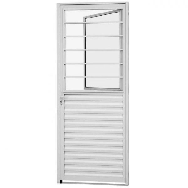 Porta de Abrir Social com Postigo Alumínio - Branco Sasazaki (78.60.105-1)