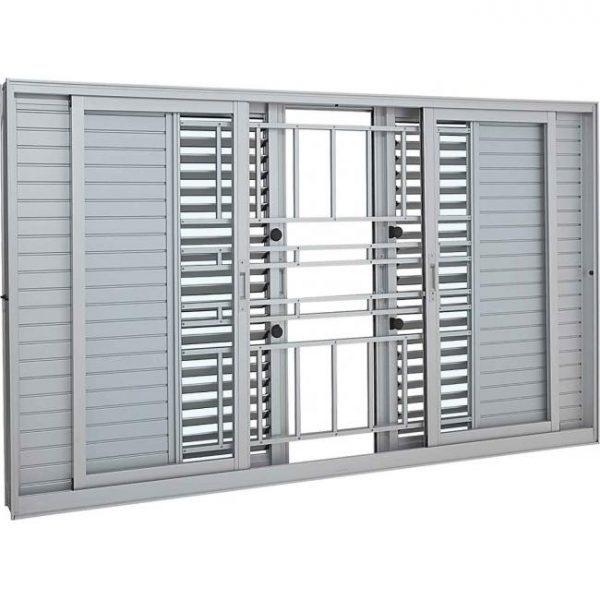 Janela Veneziana Multiflex Grade Classic Alumínio - 6 Folhas - Branco Sasazaki