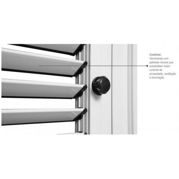 Janela Veneziana Multiflex sem Grade Alumínio - 6 Folhas - Branco Sasazaki