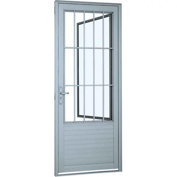 Porta Social de Abrir com Postigo Grade Classic e Lambri Horizontal Alumínio - Branco Sasazaki