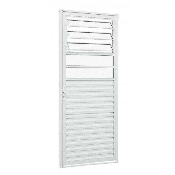 Porta de Abrir Veneziana com Divisão Horizontal e Bascula Alumínio - Branco