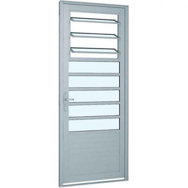 Porta de Abrir com Báscula e Lambri Horizontal Alumínio - Branco Sasazaki