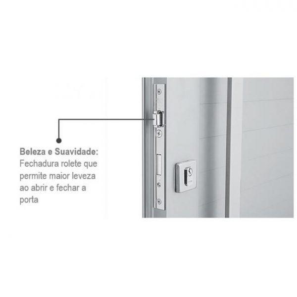 Porta de Abrir com Lambri Horizontal, Seteira e Puxador Alumínio - Branco