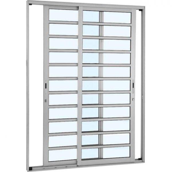Porta de Correr com Divisão Horizontal Alumínio