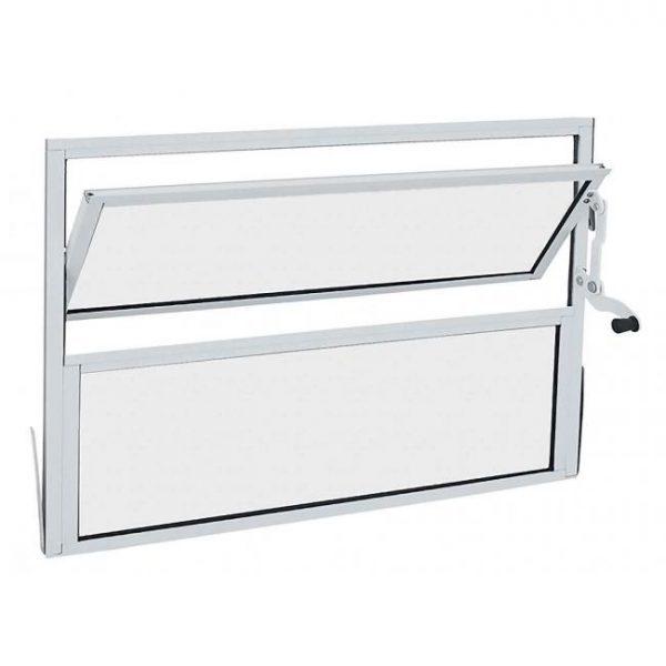 Janela Basculante Quadro Fixo Inferior Alumínio - Branco