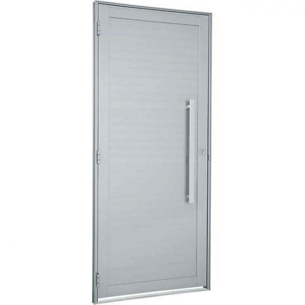 Porta de Abrir com Lambri Horizontal e Puxador Alumínio - Branco