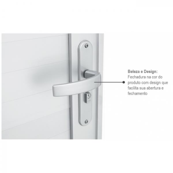 Porta de Abrir com Lambri Horizontal Alumínio - Branco