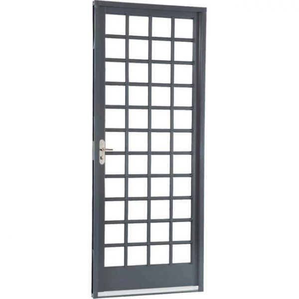 Porta de Abrir Quadriculada Aço - Cinza