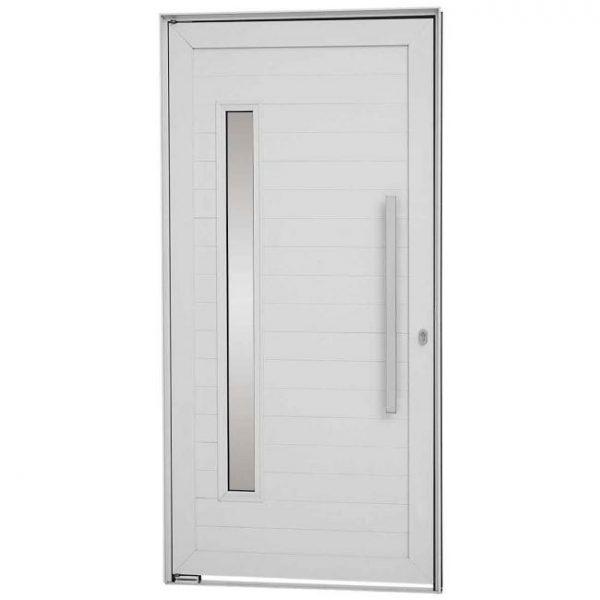Porta Social Pivotante Lambris Horizontais com vidro, Puxador e Fechadura Multiponto Alumínio - Branco