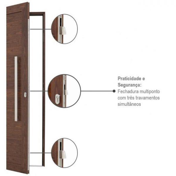 Porta Social Pivotante Lambris Horizontais e Puxador com Fechadura Multiponto Alumínio - Madeira