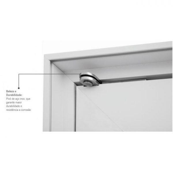 Porta Social Pivotante Lambris Horizontais e Puxador com Fechadura Multiponto Alumínio - Branco