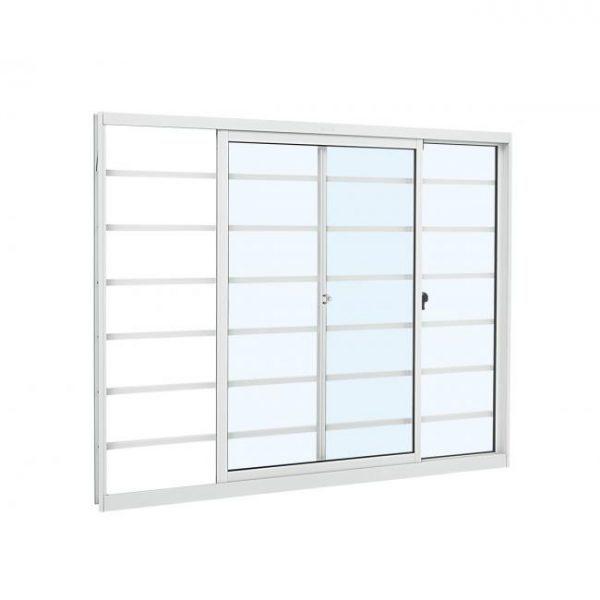 Janela de Correr Grade Horizontal Alumínio - 2 Folhas - Branco-sasazaki