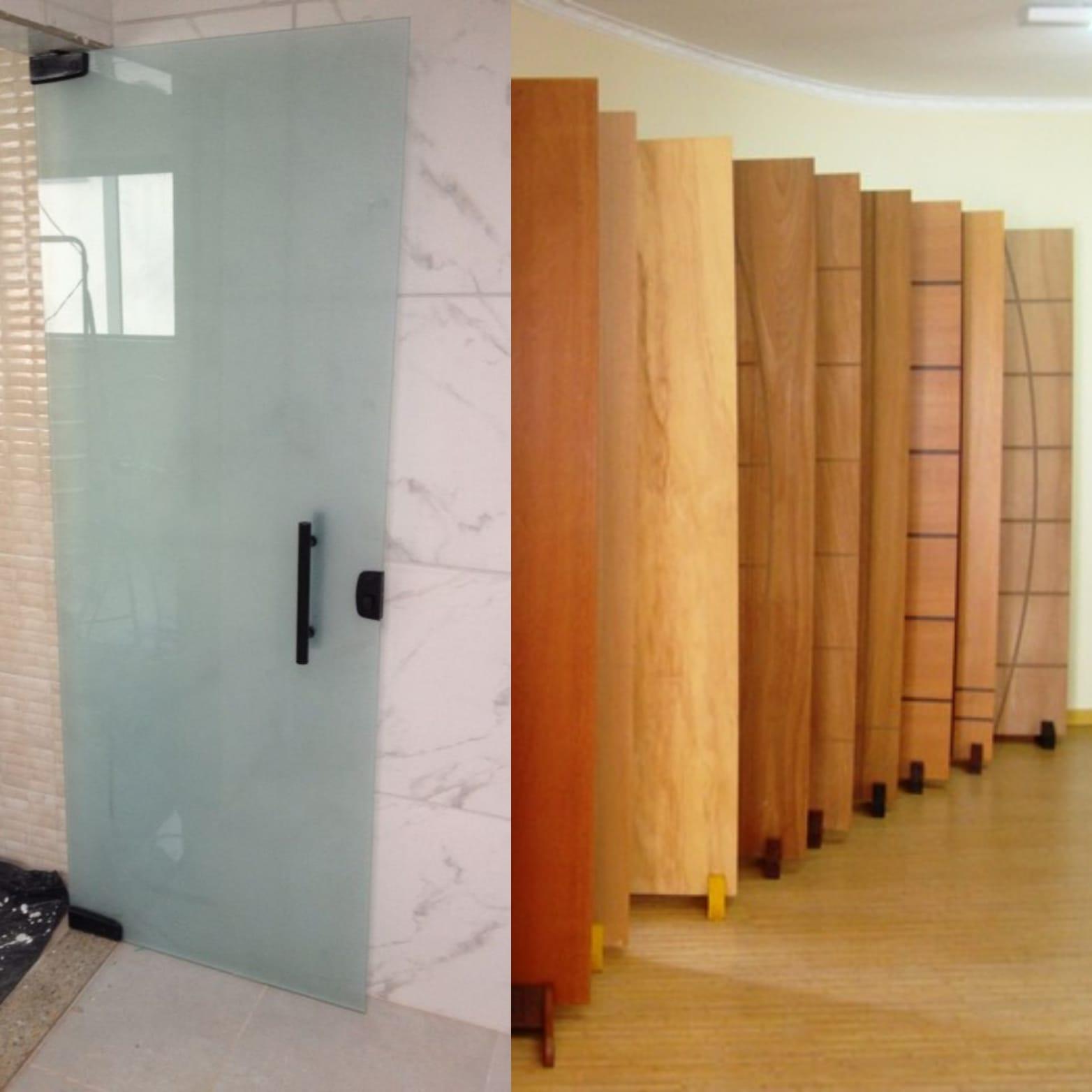 porta de madeira ou vidro